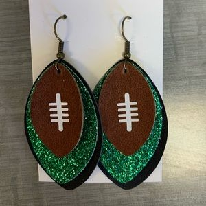 Jewelry - Green/black football faux leather earrings